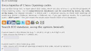 ECO chess opening DB - explore openings defences, find gambits, defenses, traps, etc.