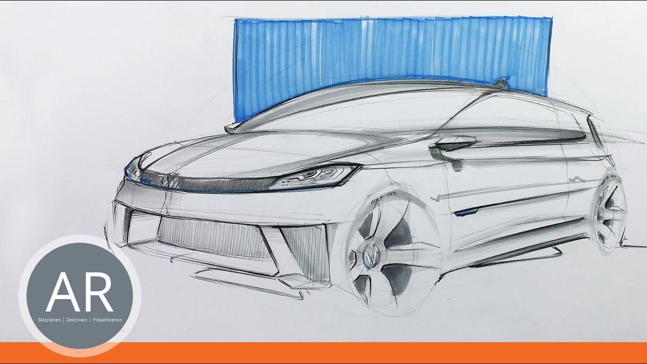 VW-Golf-Teil 1/2. Autos zeichnen lernen. Mappenvorbereitungskurs ...