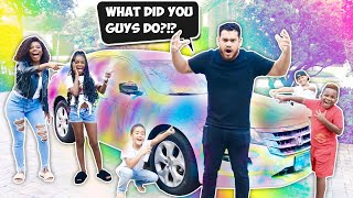 WE SPRAY PAINTED JUSTIN'S CAR PRANK!! *HE FREAKS OUT*