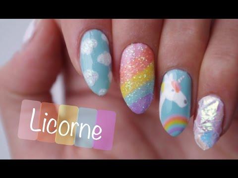 [t.n.a]-nail-art-facile-:-licorne♡