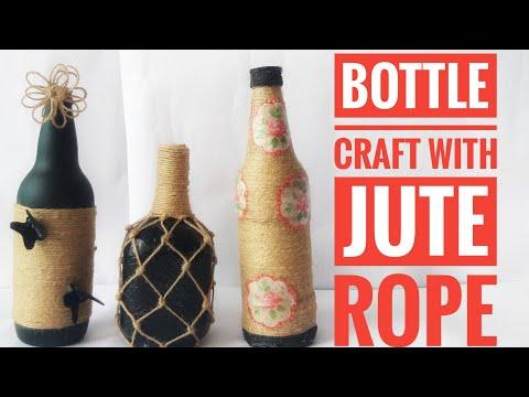 Bottle craft/Bottle jute craft decoration/best out of waste/jute rope bottle craft/wine bottle craft