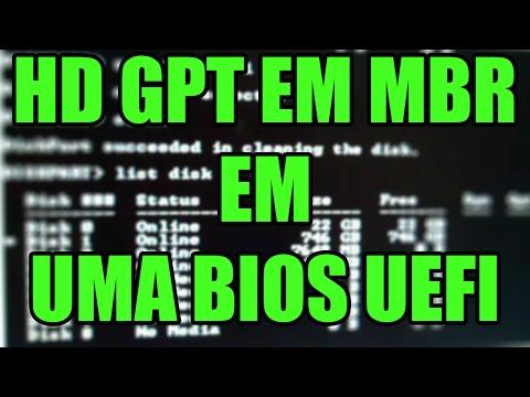 Como converter hd GPT em MBR em uma Bios UEFI [NA PRÁTICA]