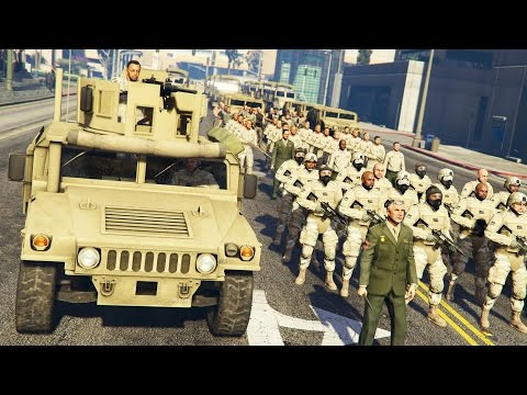 GTA 5 PLAY AS A COP MOD - MILITARY TAKEOVER!! MARTIAL LAW Ar
