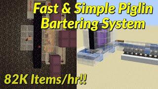 Simple Piglin Bartering System w/ Overworld Storage Tutorial [82K items/hr] | Minecraft 1.16.2