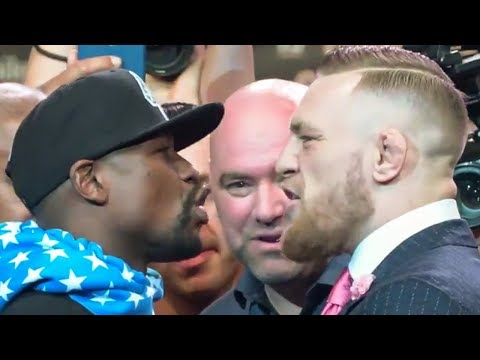 Floyd Mayweather vs Conor Mcgregor FACE OFF for first time in Los Angeles