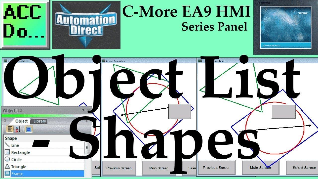 C More EA9 HMI Series Panel Object List Shapes