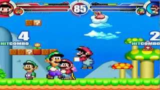 Fighting Mario & Fighting Luigi vs SNES Mario & SNES Luigi MUGEN Battle!!!