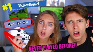 TEACHING MY 14 YEAR OLD SISTER HOW TO PLAY FORTNITE *FIRST TIME* GeorgeMasonTV