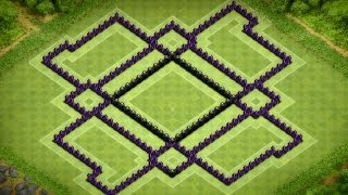 Clash Of Clans - Town Hall 9 Anti-Hog Trophy Base (The Poseidon) Speed Build - 2014