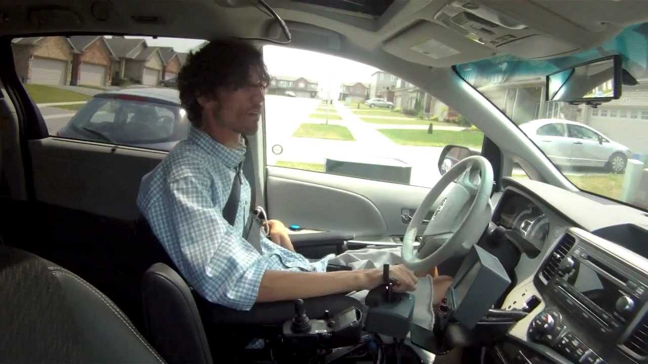 Hand Controls For Cars >> Person with Quadriplegia Driving an Accessible Van with an EMC Joystick - YouTube