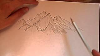 Видео: как нарисовать горы?(обучающее видео по рисованию гор простым карандашом поэтапно для начинающих., 2016-01-04T10:22:02.000Z)