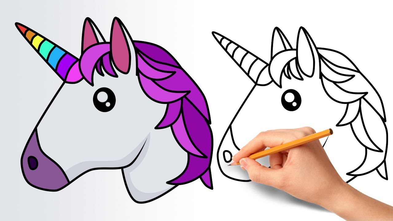 how to draw a unicorn emoji step by step youtube. Black Bedroom Furniture Sets. Home Design Ideas