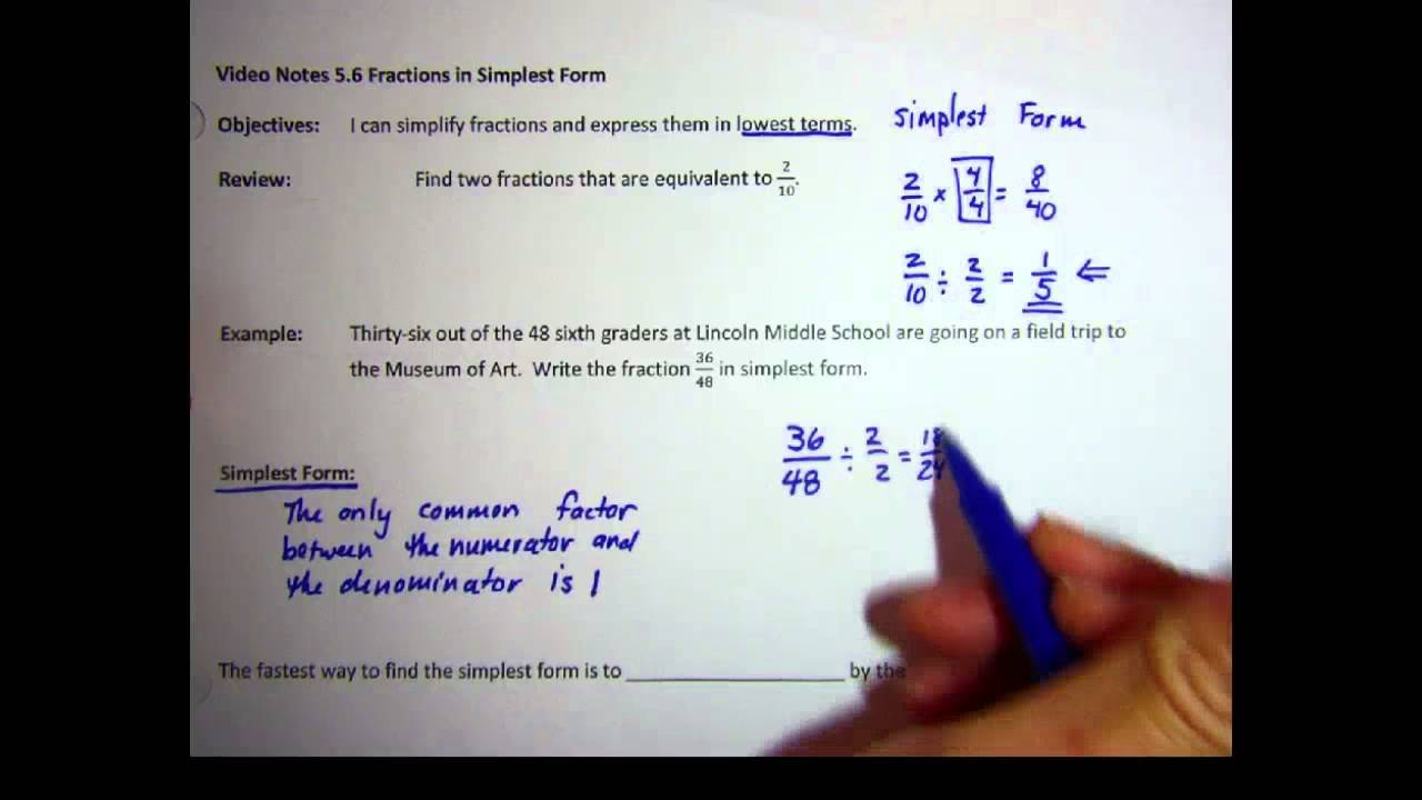 VN5.6 Fractions in Simplest Form - YouTube