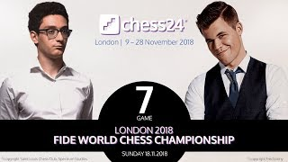 Carlsen-Caruana Game 7 - 2018 FIDE World Chess Cha...