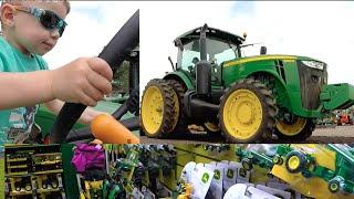 Cute Boy Drives John Deere Tractor. Tractors for Kids. Video for Children. John Deere Toys