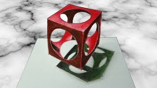 HOW TO DRAW 3D HOLEY CUBE - Drawing Trick Art Illusion