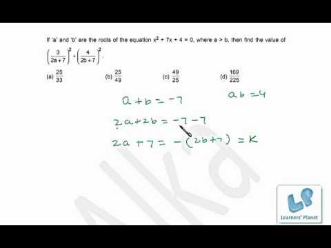 Quadratic equation problems based on properties of roots