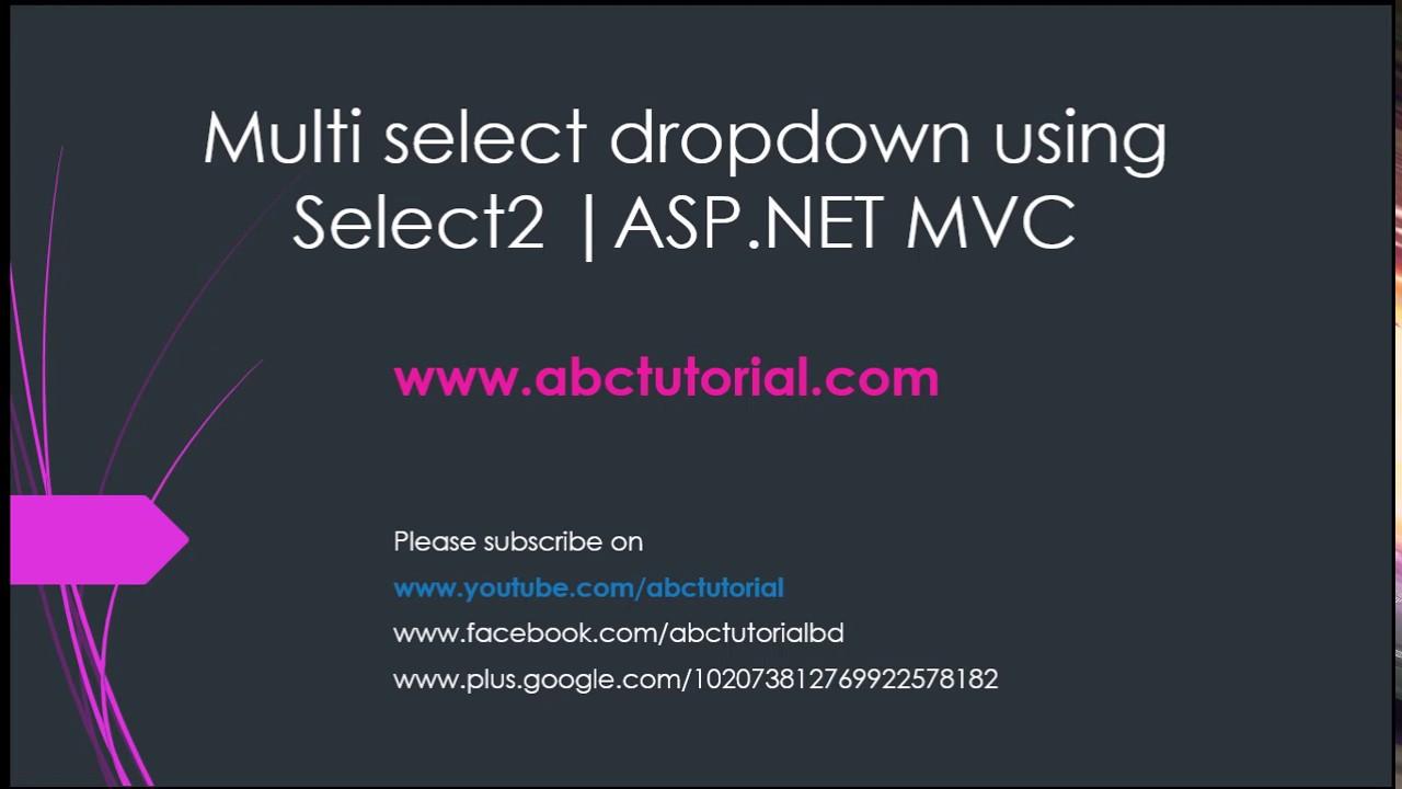 Multiselect Dropdown In ASP NET MVC | Searchable Dropdown