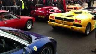Ferrari 458 Italia held up by four Lamborghini's at Brooklands - Auto Italia 2012