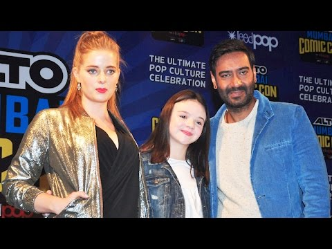 Ajay Devgn With Erika And Abigail Eames At The Launch Of Shivaay Comic Book