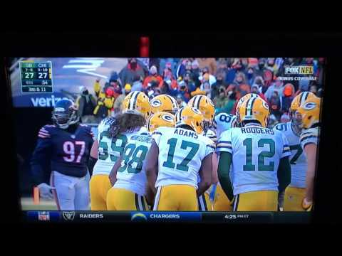 Packers vs Bears Aaron Rodgers 60 Yard Pass to Jordy Nelson To Setup Game Winning Field Goal