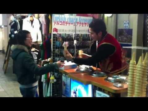 Funny Turkish ice cream in Osaka, Dotombori
