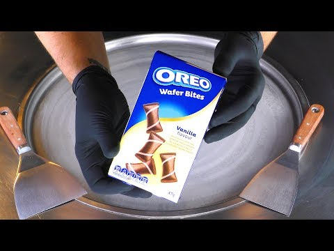 ASMR - OREO Vanilla Waffles Ice Cream Rolls | how to make rolled Ice Cream - fast ASMR relax Sound