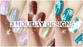 3 EASY CHRISTMAS NAIL IDEAS With Little Ondine Twin Sets