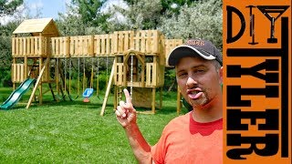 Part 2: https://youtu.be/IhYzYXaVTXk This wooden swing set is epic, it has everything, tub slide, monkey bars, a bridge, multiple ...