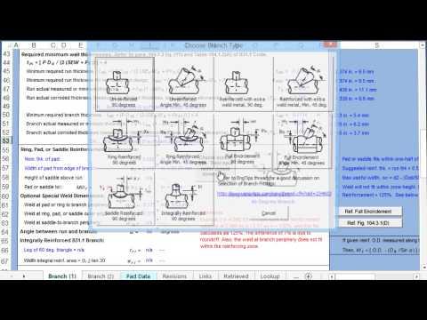 Pipe Branch Reinforcement Calculator - ASME B31 1
