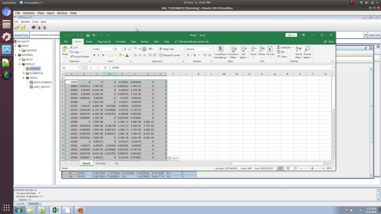 MSC Nastran results in Excel via HDF5 ( h5 file)