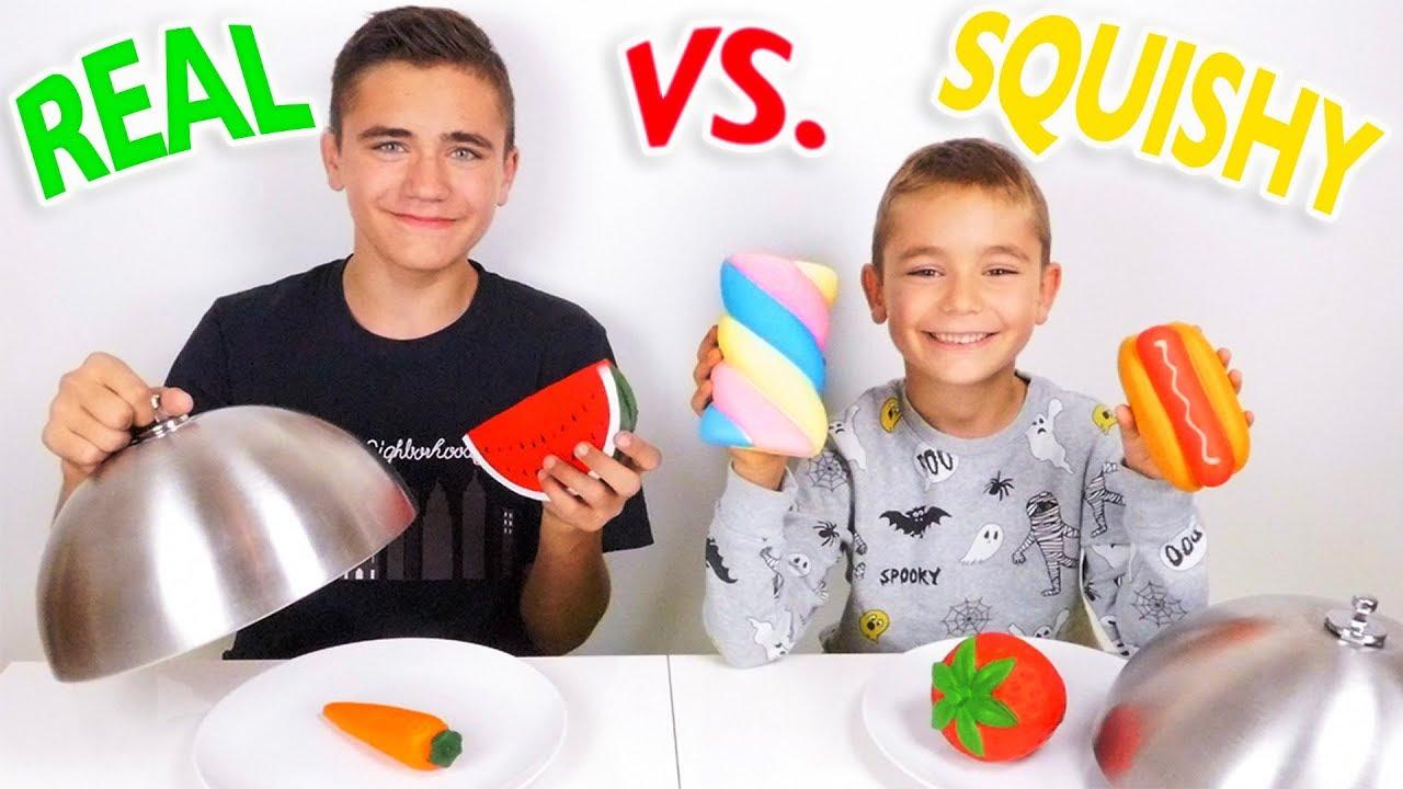 REAL FOOD VS SQUISHY FOOD CHALLENGE ! - Vraie nourriture ou Squishies ?