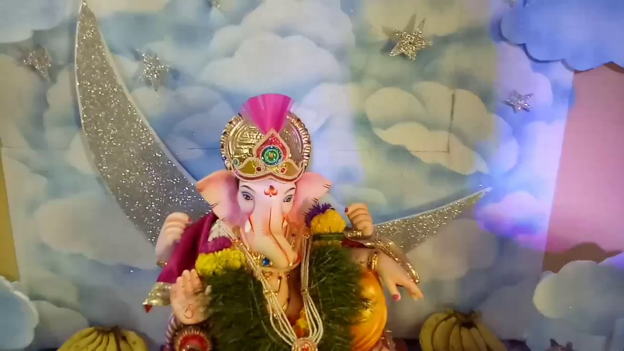 Maghi ganpati decoration 2017 youtube Ganpati decoration design for home