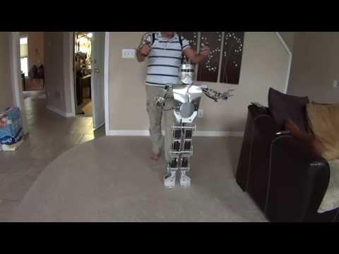 Humanoid robot homemade biped robot Arduino Mega with exoskeleton remote