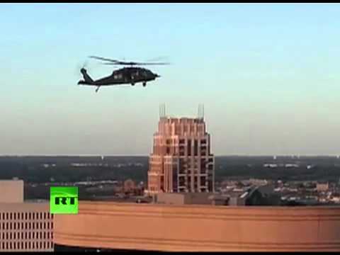 Black Hawk helicopters' war games over downtown Minneapolis