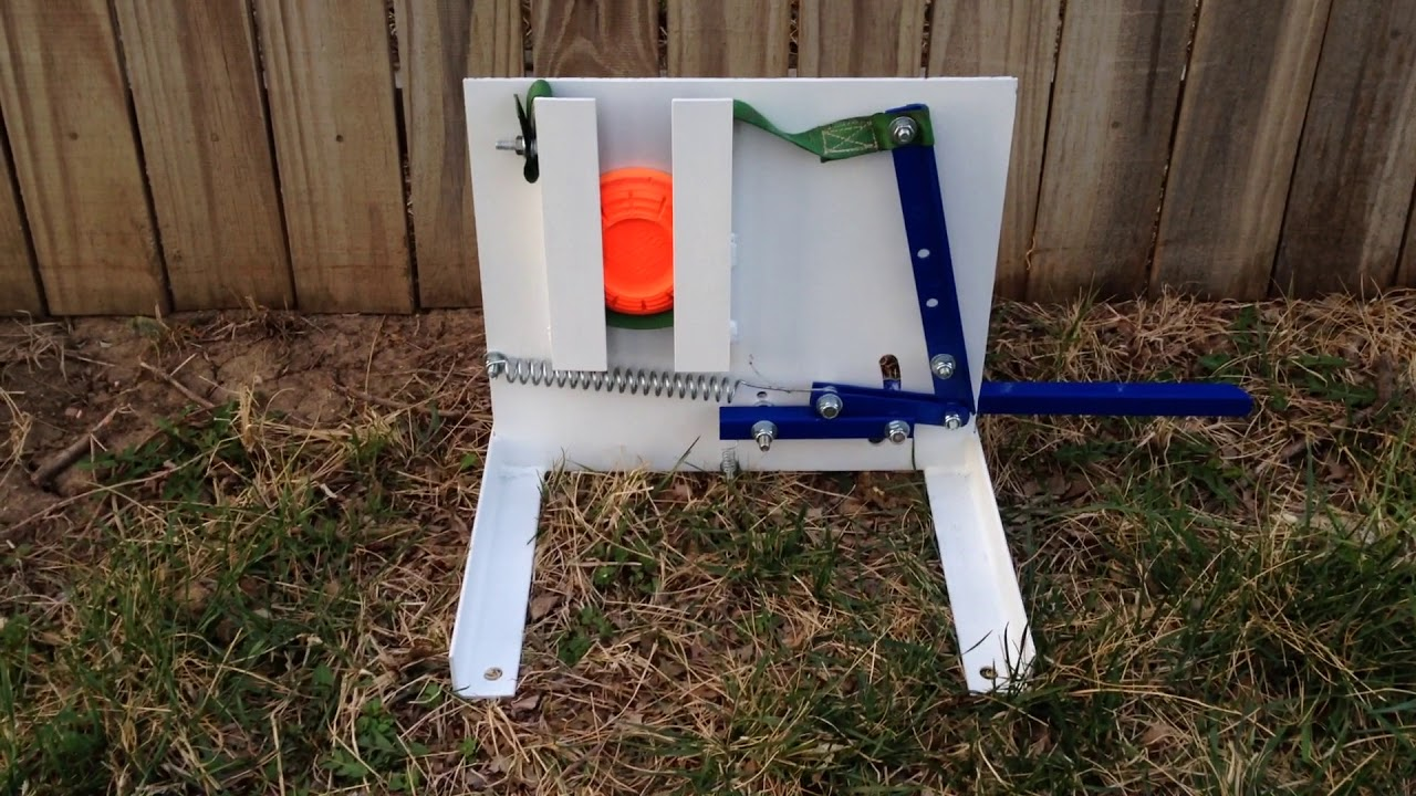Homemade clay pigeon thrower - YouTube