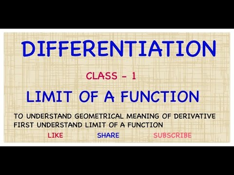 #1. INTRODUCTION TO DIFFERENTIATION | LIMIT OF A FUNCTION | DERIVATIVE