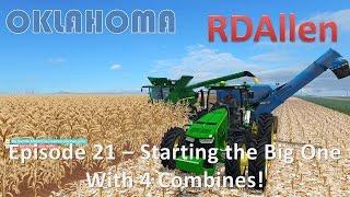 Farming Simulator 15 Oklahoma E21 - Starting the Big One!  With 4 Combines!