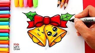 Aprende a dibujar una CAMPANA DE NAVIDAD Kawaii   How to Draw a Cute Christmas Bells