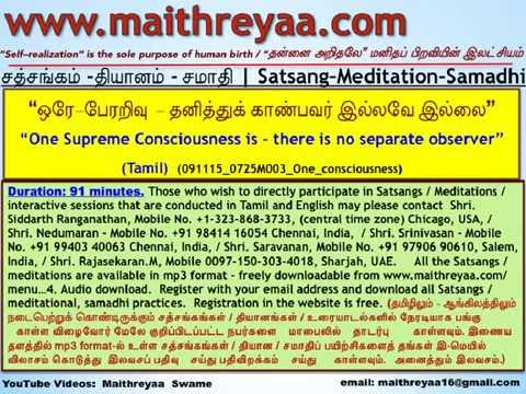 One Supreme Consciousness is - there is no separate observer. (Tamil).(HwST00122)