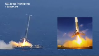 SpaceX CRS-6 Barge Landing Attempt - Synchronized Cameras with Zoom Closeup