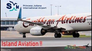 Early Morning Movements @ Princess Juliana, Winair Twin Otter, Caribbean Airlines 737-800....