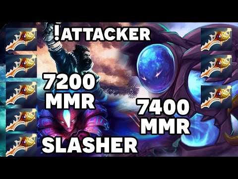 8 Rapiers Game - !Attacker Kunkka + Slasher Spectre vs 7400 MMR Arc Warden Spammer