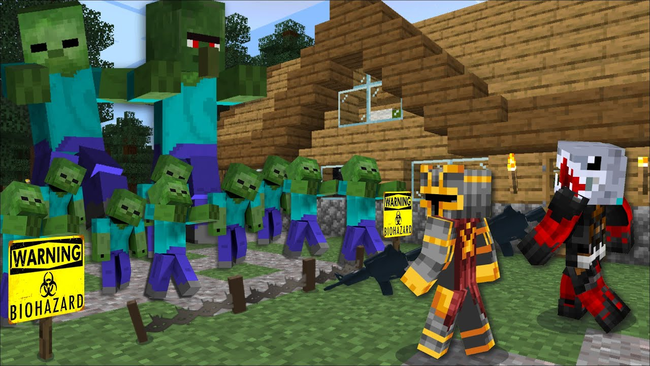 Minecraft FIGHT DANGEROUS ZOMBIE APOCALYPSE MOD / SURVIVAL WITH CANNONS AND  GUNS !! Minecraft Mods