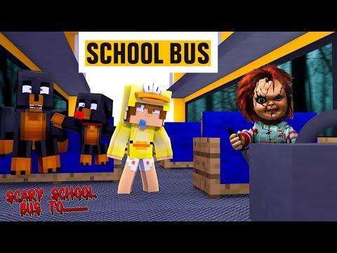 Minecraft SCARY SCHOOL BUS TO.......CHUCKY SCHOOL!! - Donut the Dog