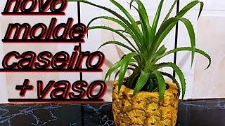 PASSO A PASSO,NOVO E MELHOR MOLDE CASEIRO + VASO DE CIMENTO ABACAXI PARA SUCULENTAS