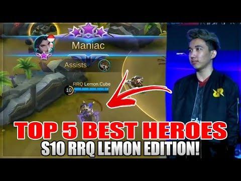 RRQ LEMON TOP 5 BEST HEROES FOR SEASON 10 IN MOBILE LEGENDS