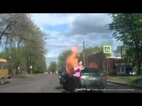 16.05.2015 Перевозка газового баллона в салоне автомобиля закончилась пожаром
