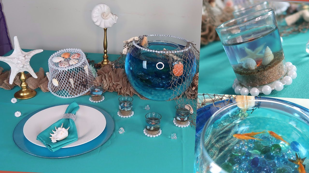 diy centerpiece and tablescape under the sea wedding