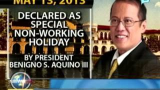 President Aquino declares May 13 a non-working holiday